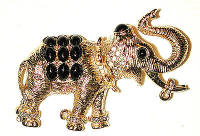 VINTAGE ELEPHANT PIN INDIA JAIPUR GILDED W BLACK BEADED JHOOL by SPHINX