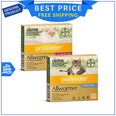 Profender Allwormer Worm treatment for Cats 2 Pipettes by Bayer All Sizes
