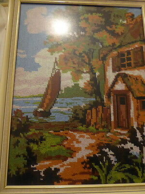 Yacht/boat/sea scene cross stitch finished completed picture