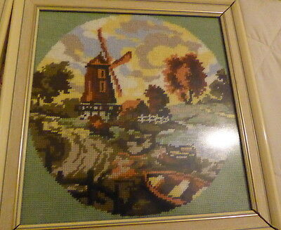 Windmill Autumn scene completed finished cross stitch picture