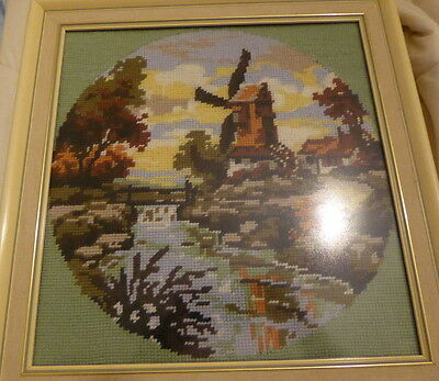 Windmill spring cross stitch completed finished picture- pretty