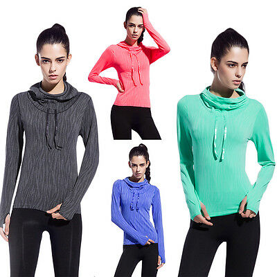 Woman Hooded Sweatshirt Sport Workout Gym Fitness Dri Fit Top Running Yoga Shirt