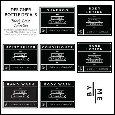 Designer bottle labels / decals - Black label collection (SMALL)