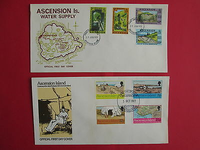 ASCENSION ISLAND 2 covers FDC 1977 water supply , professor gill , stamps