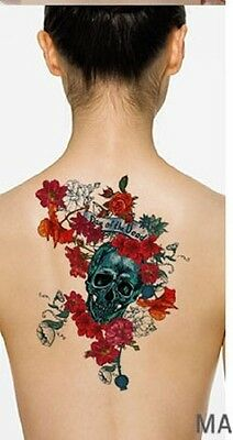 Einmal Tattoo Temporary Tattoo Scull&Roses  wasserfest Waterproof  (LC-701)