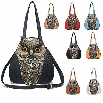 Women 3D Owl Faux Leather Adjustable  Over Strap Inner/Outer Pocket Shoulder Bag