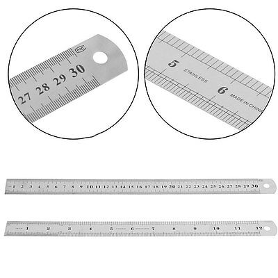 30cm/12inch Stainless Steel Pocket Ruler Scale Double Sided Measuring Tool