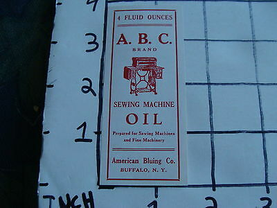 Original Vintage Label: ABC brand SEWING MACHINE OIL american bluing co RED