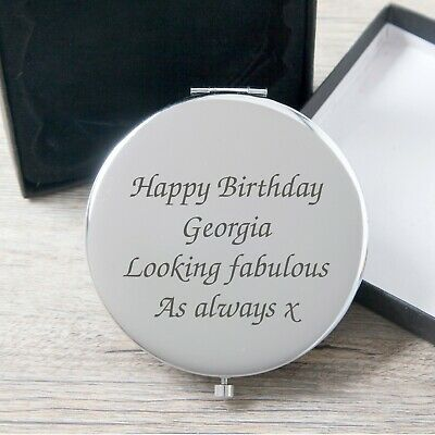 Personalised Compact Mirror Birthday Gift Idea For Her 18th 21st 30th Mum Girls
