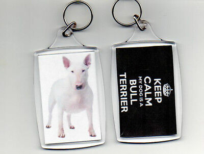 BULL TERRIER - LARGE KEEP CALM PHOTO KEYRING  (image size 70 x 45mm)