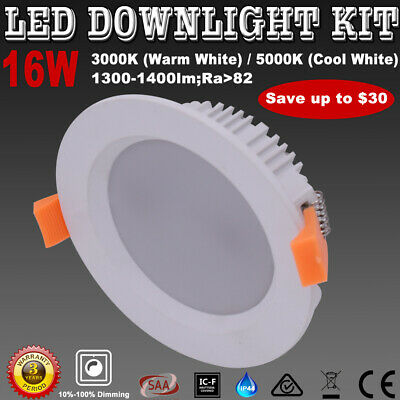 16W LED Downlight Kits Dimmable Warm/ Cool White Lights 120mm Cut IP44 Recessed