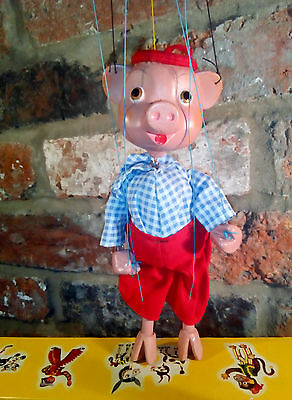 Pelham puppet Pinky pig in original box stunning from pinky and perky show