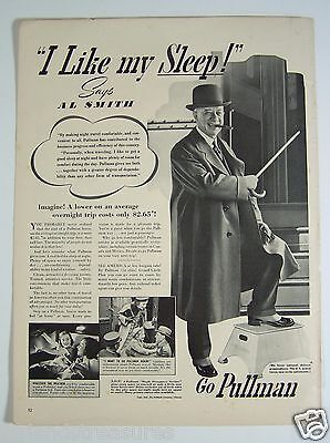 Vintage Pullman Print Ad I Like my Sleep NY Governor Al Smith 1940 Railroad