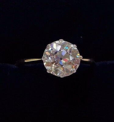 Antique 1.70ct Diamond Solitaire Ring in 18ct Yellow Gold - Old European Cut
