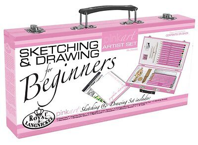 Royal & Langnickel Pink Art Beginner Artist Sketching Drawing Wood Box Set *SALE