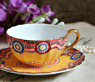 European Style Ceramic Handmade One Coffee Cup+One Dishes Home Decoration