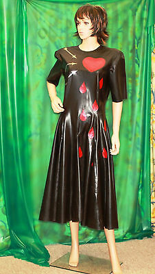 Tall lady T/V  Stunning long black latex tailored rubber dress with red hearts