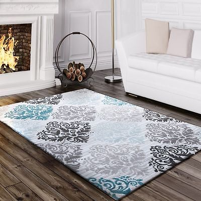 Small Extra Large Rug Modern Design Carpet Art Deco Style Rugs Grey Teal Mats