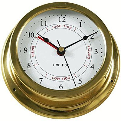 "Ambient Weather TIDECLOCK-22 5.5"" Brass Nautical Quartz Tide and Time Clock"
