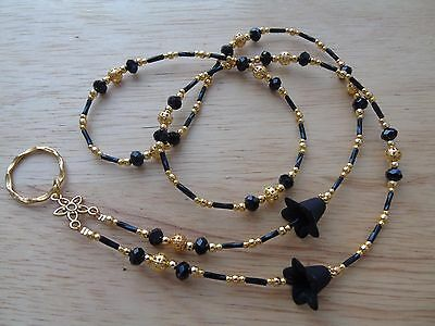 Handmade Beaded Spectacle / Glasses Chain Holder / Necklace. Gold/Black Colour