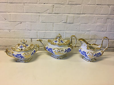 Antique European Porcelain 3 Piece Tea Set Blue & Gold Floral Decoration