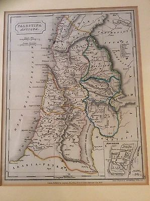 Antique Map Of Palestina Antiqua, 1829, Drawn And Engraved By Sidney Hall, Bury
