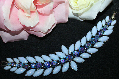 Jaw Dropping Weiss Signed Wide Bracelet With Breath Taking Blue Stones-Exc..