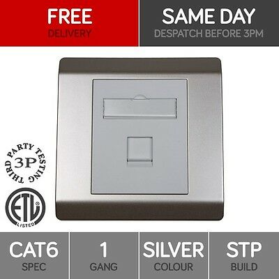RJ45 Face Plate Wall Socket Cat6 STP Ethernet Single Wall Outlet 1 Port SILVER