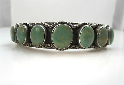 Signed Dc Green Turquoise Row Cuff Bracelet Sterling Silver Vintage Native