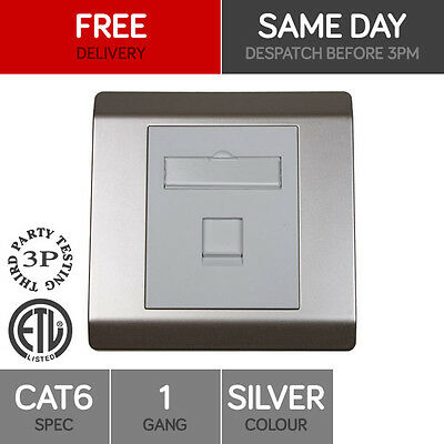 Single Port Cat6 Wall Outlet Silver Rj45 1 Way Face Plate Network Lan Socket