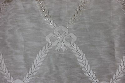 "Antique c1880 French Home Dec Green Moiré Silk Fabric ~Bows~L-54""X W-22"""
