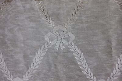 "Antique c1880 French Home Dec Green Moiré Silk Fabric Frame~Bows~L-54""X W-22"""