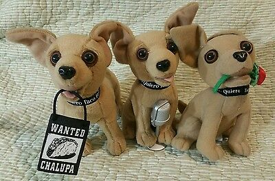 3 Taco Bell Chihuahua talking singing Plush Dogs