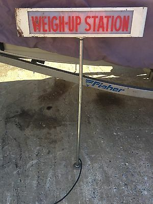 Vintage Industrial Weigh Up Station Lighted Sign Grocery Store Metal Man Cave