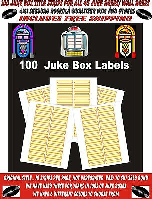 JUKEBOX LABELS blank title Strips (100) , YELLOW, FREE S&H