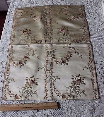 Antique French 18thC (1700s) Silk &Chenille Roses&Ribbons Brocaded Fabric Sample