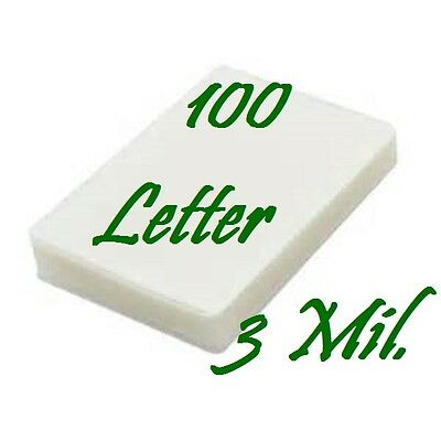 100 pk Letter Size Laminating Laminator Pouches 9 x 11-1/2  3 Mil Free Carrier