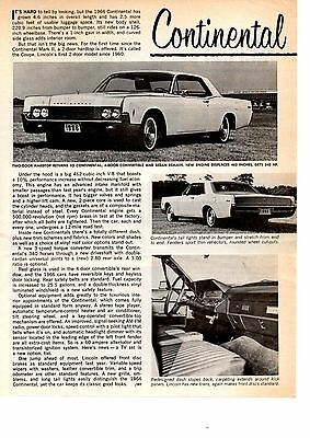 1966 Lincoln Continental  ~  Original New Car Preview Article / Ad