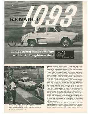 1962 Renault Dauphine 1093  ~  Vintage Original 4-Page Road Test / Article / Ad