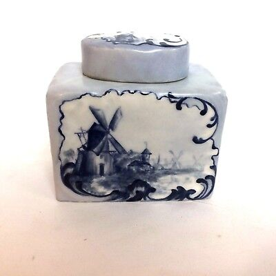 Rare Antique Limoges Tea Caddy With Dutch Wind Mill Scene