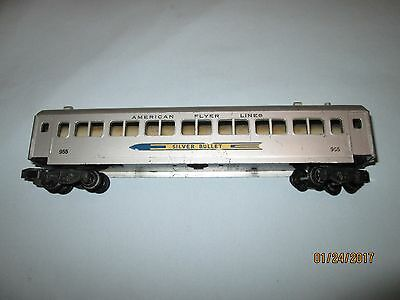 American Flyer #955 Silver Bullet Passenger Car. Very Good Minus Condition.