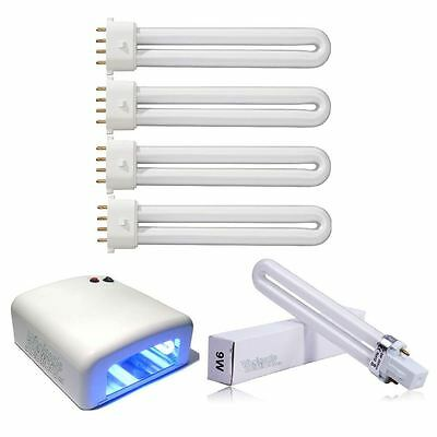 New 4 x 9w UV Lamp Tube Light Bulbs Gel Nail Art Dryer Replacement Curing