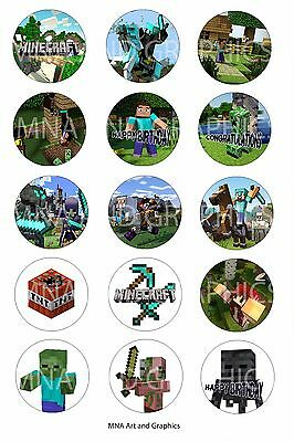 Minecraft cake Topper birthday party PRE CUT - Cup Cake Toppers