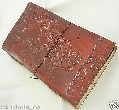 Handmade Leather Journal DOUBLE DRAGON Embossed Blank Grimoire Book of Shadows