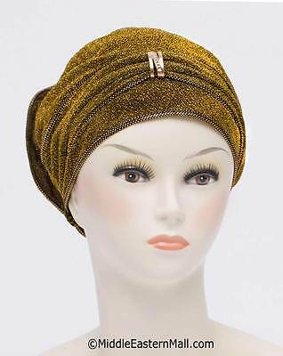 Petite Dazzle Hijab Caps #1 Gold Fancy Bonnet Cancer Chemo Hijab Turban from USA