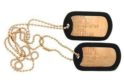 Custom Embossed Copper Military Army Air Force Navy USMC ID Dog Tags