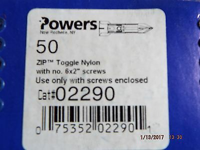 "Powers Zip Toggle Nylon w/no. 6 x 2"" Screws"