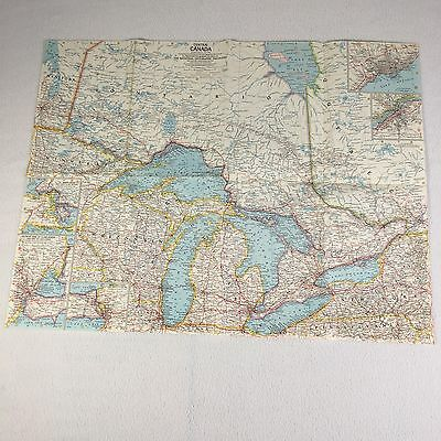 Vintage Map Central Canada And The Great Lakes 1963 National Geographic Society
