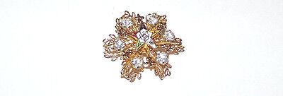 Sparkling-Gold Tone And Enamel With Rhinestones Eastern Star Brooche