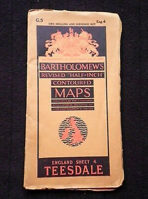 Vintage Bartholomew Map Sheet 4/Eng 4 of Teesdale-1939 Vintage Folding Map